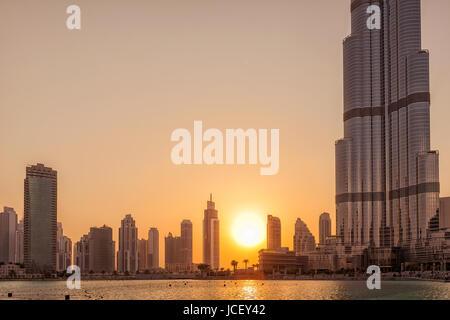 UAE/DUBAI - 14 SEP 2012 - Difference in size of dubai buildings - Stock Photo