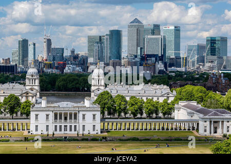 Canary Wharf skyline with National Maritime Museum in foreground, from Greenwich (near London), England, United - Stock Photo