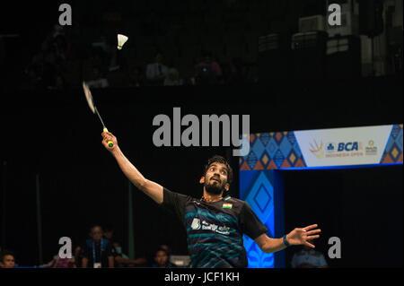 Jakarta, Indonesia. 15th June, 2017. Kidambi Srikanth of India competes against Jan O Jorgensen of Denmark during - Stock Photo