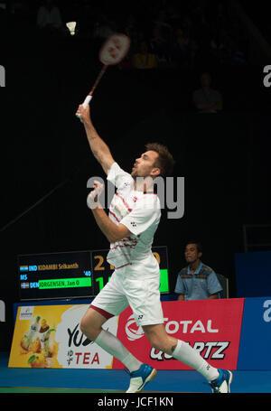 Jakarta, Indonesia. 15th June, 2017. Jan O Jorgensen of Denmark competes against Kidambi Srikanth of India during - Stock Photo
