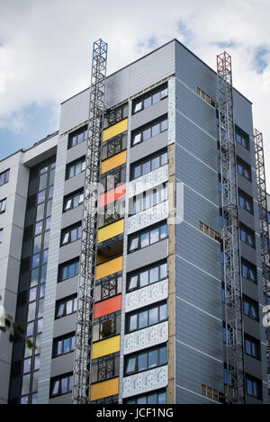 Dangerous flammable cladding panels being removed from on a tower block in Oxford after the Grenfell Tower tragedy - Stock Photo