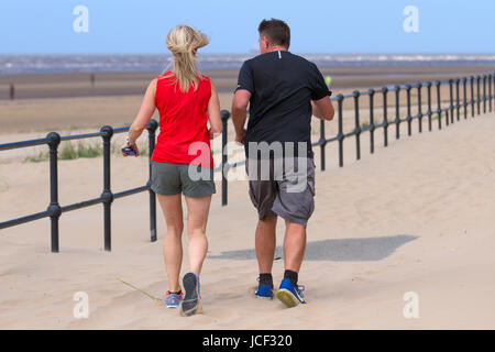 Crosby Beach, Merseyside, UK. UK Weather. 15th June, 2017. Sunny day in the North-west as shipping enters and leaves - Stock Photo