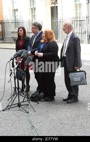 London, UK. 15th June, 2017. Members of the Alliance Party of Northern Ireland seen in Downing Street after meeting - Stock Photo