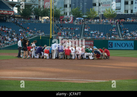 Since 1909, Members, both Democrat and Republican of the US House of Representatives and the US Senate have played in the annual Congressional Baseball game, with the money raised from ticket sales, donated to local charities.. This year, both teams played to honor House Majority Whip, Steve Scalise, R-LA who was shot during a practice session.