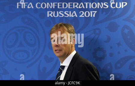 St Petersburg, Russia. 16th June, 2017. FIFA Director of Competitions Colin Smith gives a press conference at the - Stock Photo