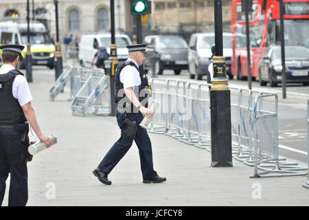 Houses of Parliament, London, UK. 16th June 2017. A man is arrested outside the main gates of the Houses of Parliament. - Stock Photo