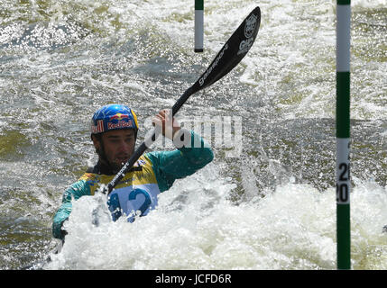 Prague, Czech Republic. 16th June, 2017. Czech canoeist Vavrinec Hradilek in action during the 2017 ICF Canoe Slalom - Stock Photo