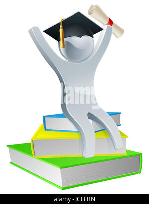 Graduation person on books holding diploma scroll and wearing mortar board, education concept - Stock Photo