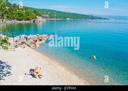 Plaza Crnikovica, beach, Volosko, a district of Opatija, Kvarner Bay, Croatia - Stock Photo
