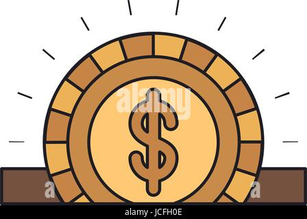 colorful silhouette closeup flat golden coin with dollar symbol depositing in rectangular slot - Stock Photo