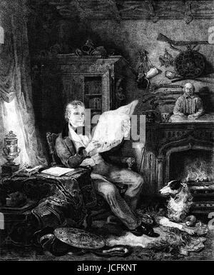 Sir Walter Scott (1771-1832), Scottish poet and novelist.  18th century  Engraving - Stock Photo