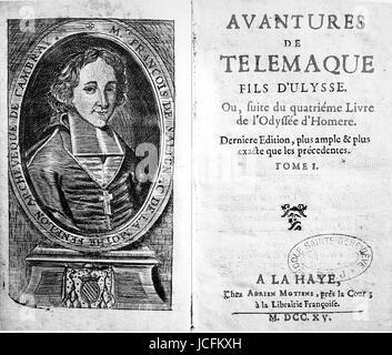 The adventures of Telemaque by François de Salignac de la Mothe Fénelon, Archbishop of Cambrai. 1715 Edition. - Stock Photo