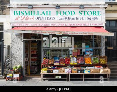 Middle Eastern  shop on Nicholson Square in central Edinburgh, Scotland, United Kingdom - Stock Photo