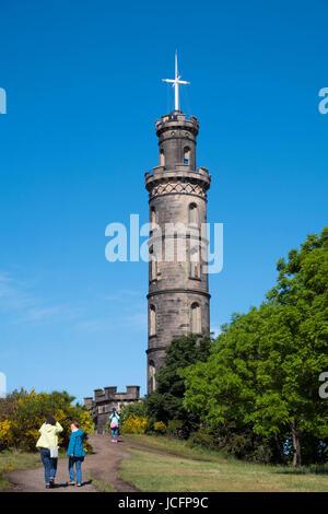The Nelson Monument on Calton Hill in Edinburgh, Scotland, United Kingdom - Stock Photo