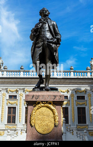 Statue of Johann Wolfgang Goethe in front of the Old Bourse, Naschmarkt, Leipzig, Saxony, Germany - Stock Photo