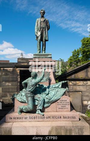 Statue of Abraham Lincoln in Old Cartoon Cemetery in Edinburgh, Scotland , United Kingdom - Stock Photo