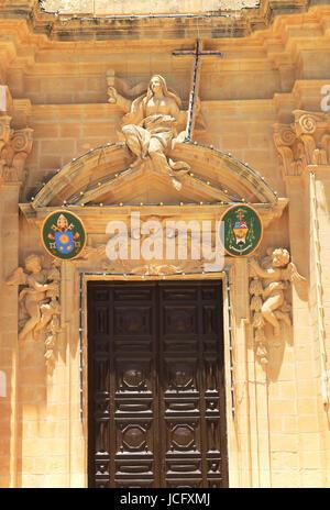 Frontage of basilica of the Visitation church, Gharb, island of Gozo, Republic of Malta - Stock Photo