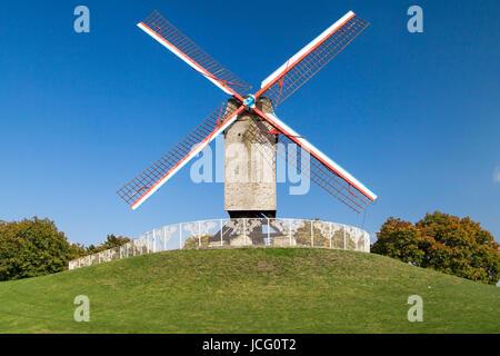 Sint-Janshuis windmill in Bruges, Belgium. - Stock Photo