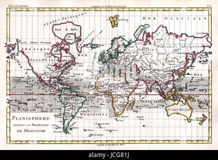 1779 Bonne Map of the World on Mercator's Projection, an example of French Cartography, hand colored. - Stock Photo