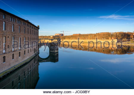 View at Toulouse city near Garonne river in France - Stock Photo