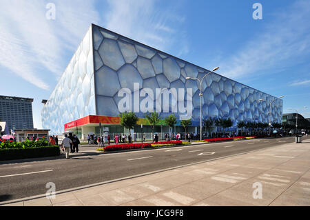 "BEIJING, CHINA - SEPTEMBER 21, 2009: Exterior of The Beijing National Aquatics Center. It is also known as ""Water - Stock Photo"