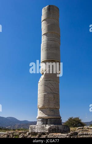 The column from the large sanctuary to the goddess Hera, UNESCO World Heritage Site - Stock Photo