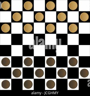 Vector Illustration of a checker board game with brown and beige pieces - Stock Photo