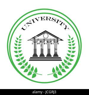 colorful illustration with university symbol on a white background - Stock Photo