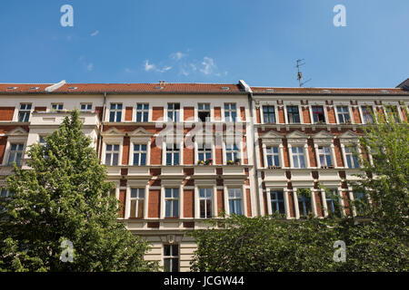 BERLIN, MAY 31ST: Typical renovated buildings in Prenzlauerberg in Berlin on May 31st 2017. - Stock Photo