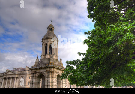 Dublin, Ireland - May 29, 2017: The courtyard of Trinity College and the Campanile of Trinity College in Dublin, - Stock Photo