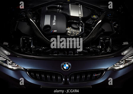 Engine of BMW M3 30 Jahre Edition - Limited edition 500 car, Katowice, Poland, 03.12.2016 - Stock Photo