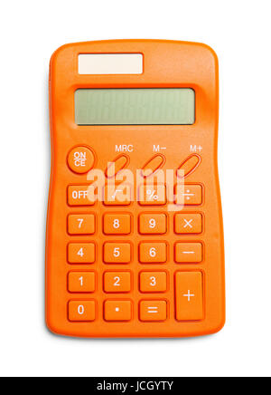 Top View of Orange Calculator Isolated on White Background. - Stock Photo