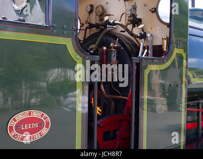 Steam Engine Beatrice built by Hunslet in Leeds showing her cab detail and fire. - Stock Photo