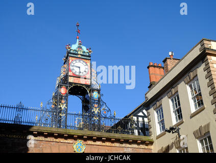 Eastgate clock in the centre of Chester, UK - Stock Photo