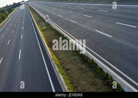 completely closed eight-lane-highway due to roadworks - Stock Photo