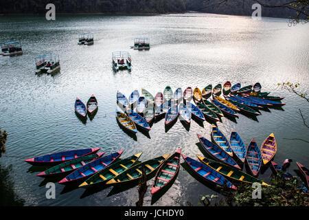 Colorful rowboats, Phewa Lake, Pokhara, Nepal - Stock Photo