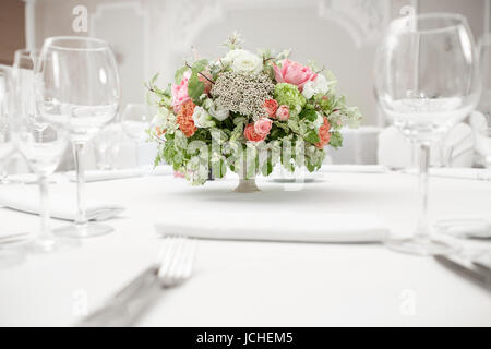 Beautifully organized event - served banquet tables ready for guests - Stock Photo