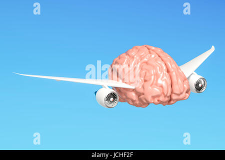 Human brain with airplane wings, free mind concept. 3D rendering - Stock Photo