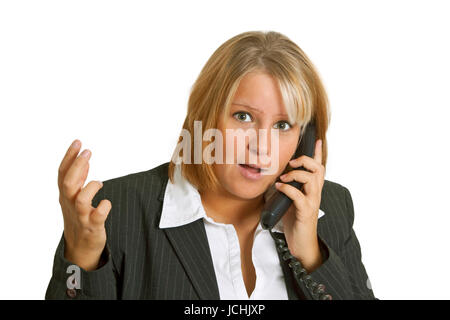 Young woman talking on telephone - isolated on white background - Stock Photo