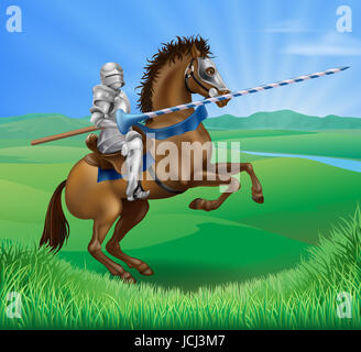 A blue medieval knight in armor riding on horseback on a brown horse holding a jousting lance in green field of - Stock Photo