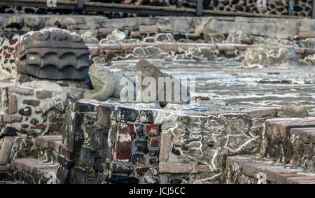 Frogs and Serpent Head Sculptures in Aztec Temple (Templo Mayor) at ruins of Tenochtitlan - Mexico City, Mexico - Stock Photo