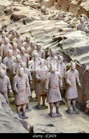 Warriors Terracotta Army, UNESCO, Xian, China - Stock Photo