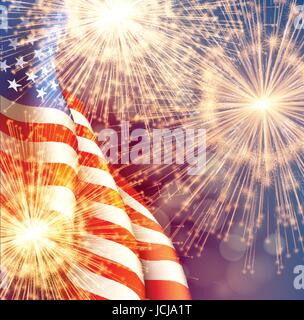 Fireworks background for 4th of July Independense Day with american flag. Vector illustration - Stock Photo