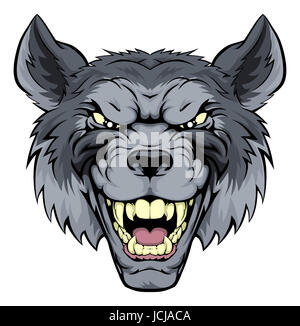 A mean looking wolf mascot character growling - Stock Photo