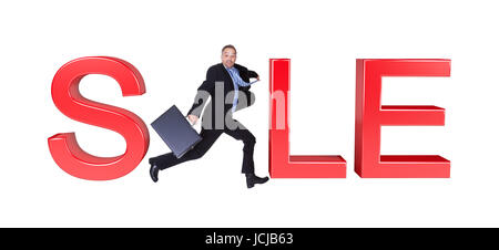 Businessman Running With Briefcase In Front Of Sale Sign. Isolated On White - Stock Photo