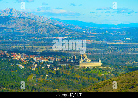 The Royal Site of San Lorenzo de El Escorial is a historical residence of the King of Spain, in the town of San - Stock Photo