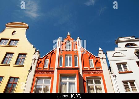 Altbau Wismar Deutschland / Old Apartment Building Wismar Germany - Stock Photo