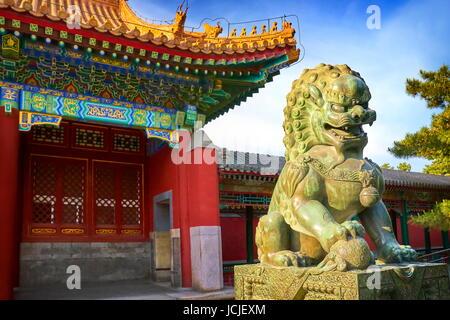 Bronze Lion at Summer Palace, Beijing, China - Stock Photo