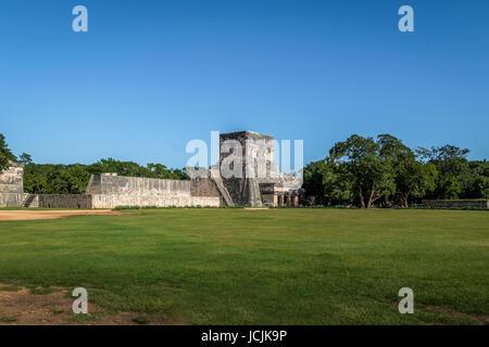 Outside view of the ball game court (juego de pelota) at Chichen Itza Mayan Ruins - Yucatan, Mexico - Stock Photo