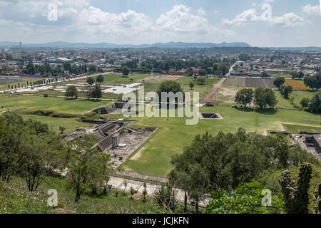 Aerial view of ruins of Cholula pyramid - Cholula, Puebla, Mexico - Stock Photo